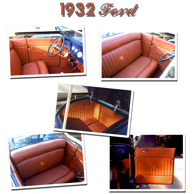 Schrecks Upholstery 32 Ford tan leather